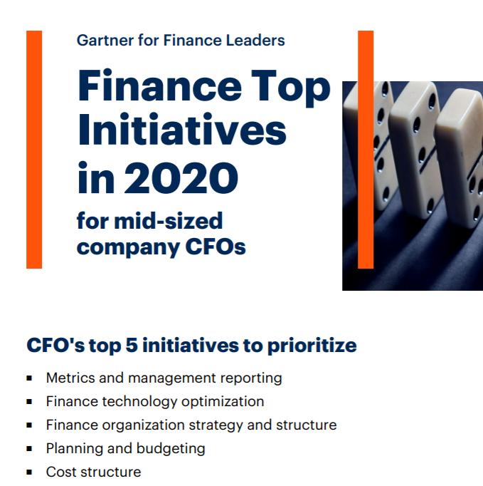 Najważniejsze zadania CFO w 2020 roku wedug Gartnera